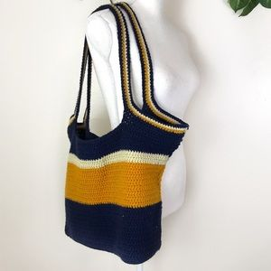 Handbags - Large Reusable Tote Bag Quilted Blue Yellow